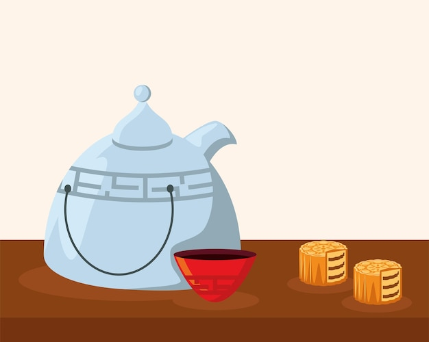 Teiera cinese e torta lunare