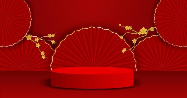 Podio di esposizione del prodotto a tema cinese. design con ventaglio cinese e albero su sfondo rosso