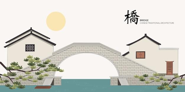 Architettura tradizionale cinese che costruisce la casa del ponte di pietra