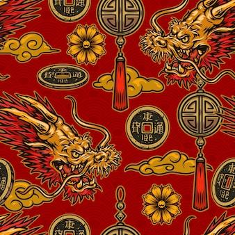 Modello senza cuciture di elementi tradizionali cinesi in stile..
