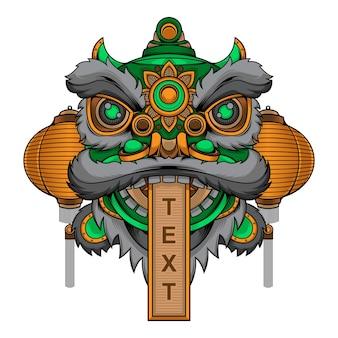 Testa di danza del leone tradizionale cinese