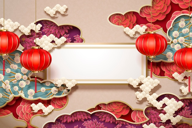 Carta da parati tradizionale cinese con rotolo vuoto e lanterne appese su decorazioni floreali