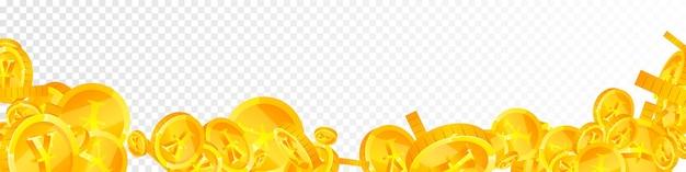 Monete di yuan cinesi che cadono. monete cny sparse brillanti. soldi cinesi. splendido jackpot, ricchezza o concetto di successo. illustrazione vettoriale.