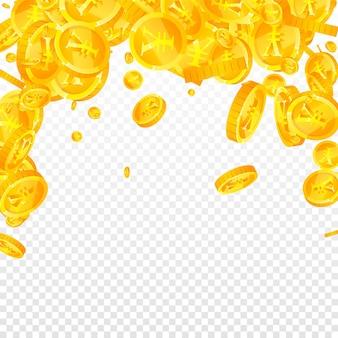 Monete di yuan cinesi che cadono. monete cny sparse decenti. soldi cinesi. favoloso jackpot, ricchezza o concetto di successo. illustrazione vettoriale.