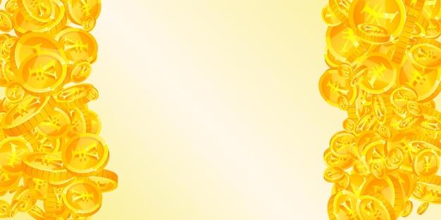 Monete di yuan cinesi che cadono. recupero di monete cny sparse. soldi cinesi. jackpot divertente, ricchezza o concetto di successo. illustrazione vettoriale.