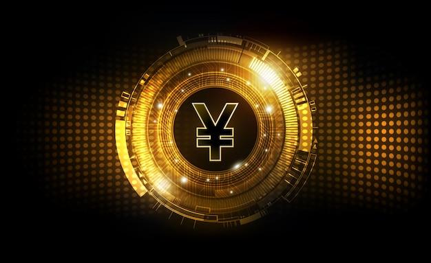 Valuta digitale degli yuan cinesi, soldi digitali futuristici di valuta dello yuan sul concetto mondiale della rete del fondo di tecnologia dell'estratto dell'oro