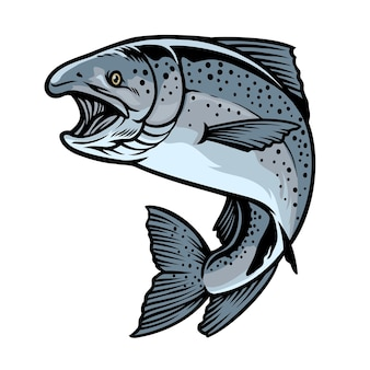 Pesce salmone chinook in stile disegnato a mano