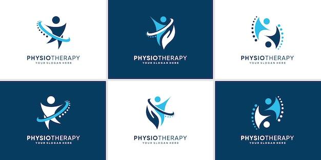 Collezione di logo chiropratica con un concetto moderno e creativo vettore premium