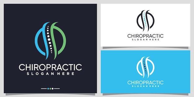 Ispirazione per il design del logo chiropratico con il concetto di cerchio vettore premium