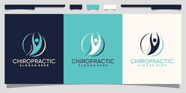 Modello di progettazione del logo chiropratico con un concetto di nodo unico vettore premium