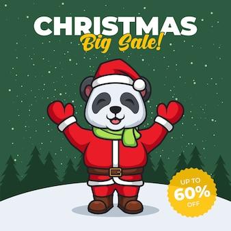 Banner di grande vendita di natale con il panda babbo natale