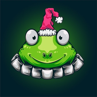 Mascotte del logo della rana verde di natale