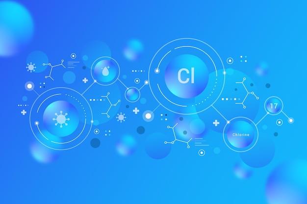 Sfondo di cloro con formule chimiche