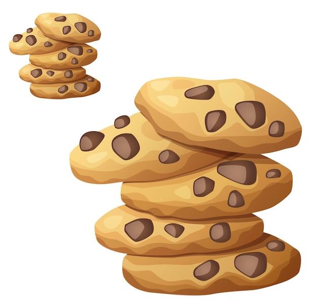 Icona di vettore di biscotti al cioccolato isolato su bianco