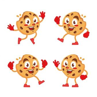 Fumetto dell'autoadesivo della mascotte del carattere dei biscotti dei chip di choco