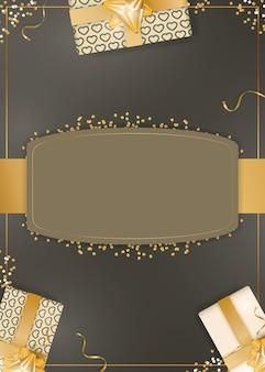 Sfondo cioccolato con scatole regalo color champagne realistiche, nastri dorati e fiocco. sfondo con spazio per il testo. illustrazione vettoriale.