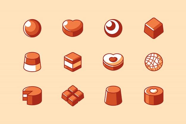 Insieme dell'icona della barra e della caramella di cioccolato