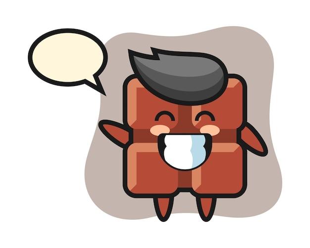 Personaggio dei cartoni animati di barretta di cioccolato che fa gesto della mano dell'onda, stile kawaii sveglio.