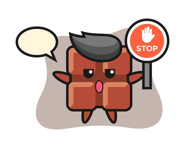 Illustrazione del carattere della barra di cioccolato che tiene un segnale di stop, stile kawaii sveglio.