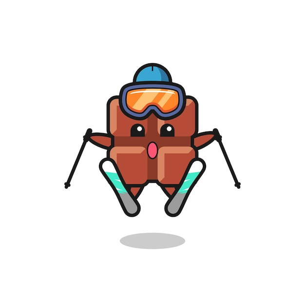 Personaggio mascotte della barretta di cioccolato come giocatore di sci, design in stile carino per maglietta, adesivo, elemento logo