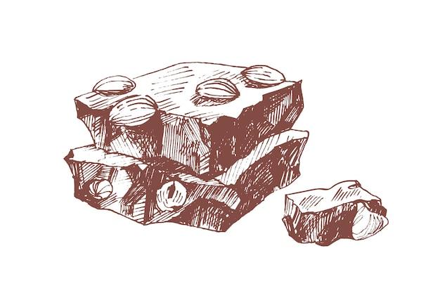 Pezzi di barretta di cioccolato con illustrazione disegnata a mano alla nocciola