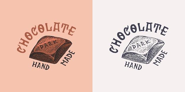 Distintivo vintage di barretta di cioccolato o logo per negozio di tipografia di magliette o insegne disegnate a mano incise