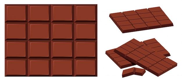 Tavoletta di cioccolato su sfondo bianco