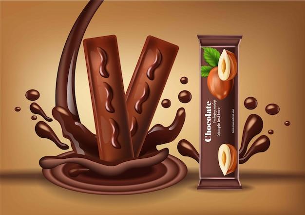 Barretta di cioccolato con noci vector realistico. il design dell'etichetta del packaging del prodotto prende in giro i dolci