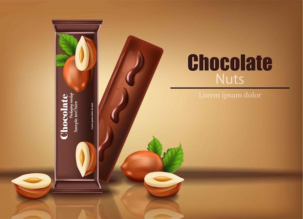Barretta di cioccolato con noci vector realistico