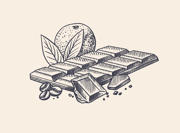 Barretta di cioccolato con arancia e chicchi di caffè. schizzo vintage disegnato a mano inciso. stile xilografia.