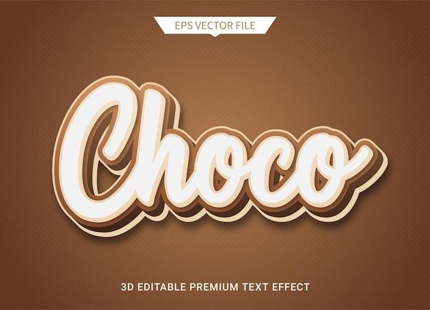 Effetto di stile di testo modificabile 3d marrone cioccolato