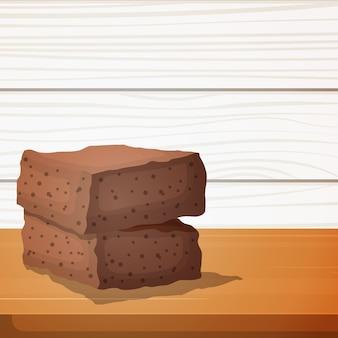 Brownies al cioccolato torta della foresta nera cibo gustoso sulla tavola di legno