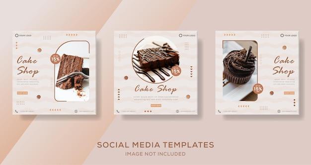Modello di banner di torta al cioccolato post per i social media aziendali