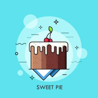 Torta al cioccolato ricoperta di glassa di zucchero. torta con frutti di bosco in cima. pubblicità dolciaria. concetto di servizio di consegna di cibi dolci e dessert. Vettore Premium
