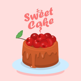 Torta al cioccolato con cherry cartoon web banner