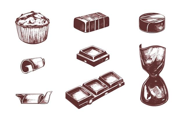 Caramelle di cioccolato e insieme disegnato a mano dell'annata del cacao.