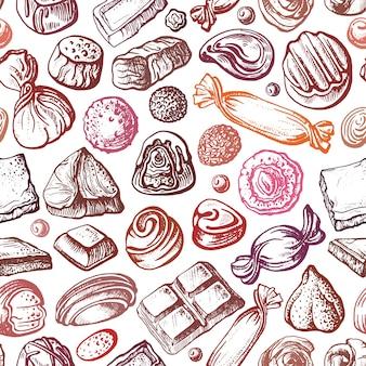 Caramelle al cioccolato. seamless pattern. schizzo disegnato a mano, cibo dolce da dessert