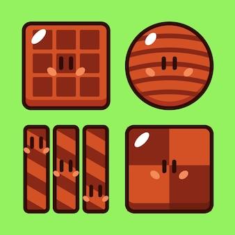 Set di illustrazioni vettoriali per cartoni animati al cioccolato.jpg