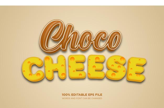 Effetto stile testo modificabile 3d al formaggio al cioccolato