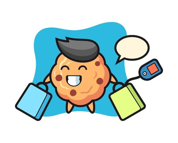 Fumetto della mascotte del biscotto di pepita di cioccolato che tiene un sacchetto della spesa