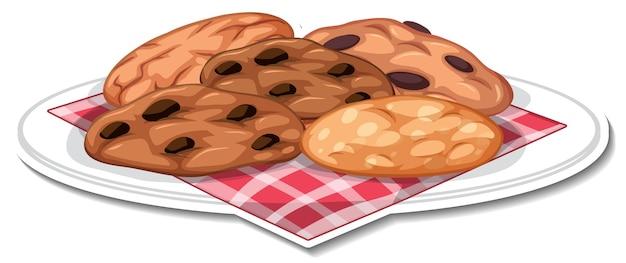 Biscotti al cioccolato in adesivo piatto su sfondo bianco