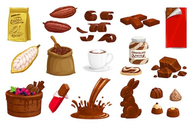 Cioccolato, barrette di produzione di cioccolato al cacao, dessert dolce coniglietto e schizzi.