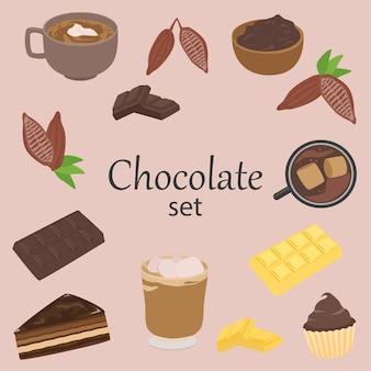 Elementi di cioccolato e cacao, insieme di vettore isolato, disegno di stile del fumetto.