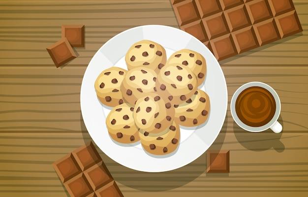 Menu saporito del cibo del biscotto del biscotto del cioccolato sull'illustrazione della tavola