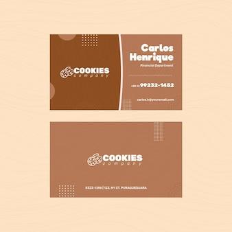 Biglietto da visita fronte-retro con biscotti al cioccolato