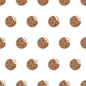Biscotti al cioccolato seamless su uno sfondo bianco. biscotti pepe vector illustration