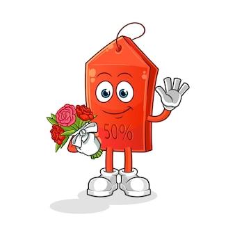 Ciambella al cioccolato con mascotte bouquet. illustrazione del fumetto