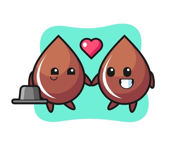 Coppia di personaggi dei cartoni animati con goccia di cioccolato con gesto di innamoramento, design in stile carino per maglietta, adesivo, elemento logo