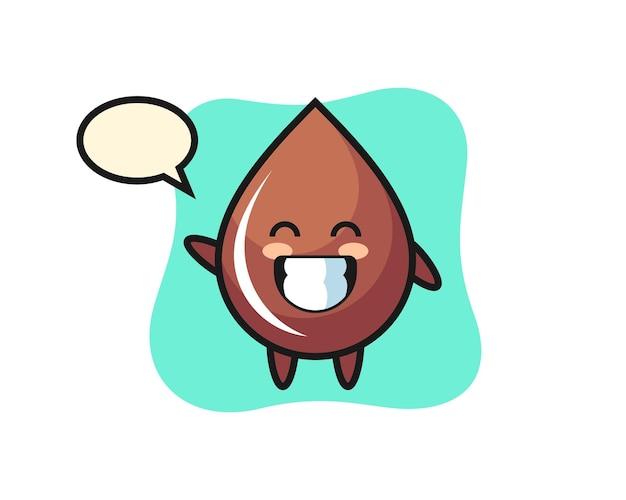 Personaggio dei cartoni animati con goccia di cioccolato che fa un gesto con la mano dell'onda, design in stile carino per t-shirt, adesivo, elemento logo
