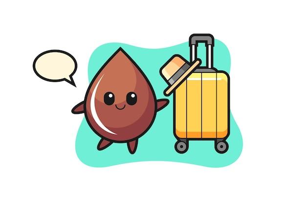 Illustrazione di cartone animato goccia di cioccolato con bagagli in vacanza, design in stile carino per t-shirt, adesivo, elemento logo